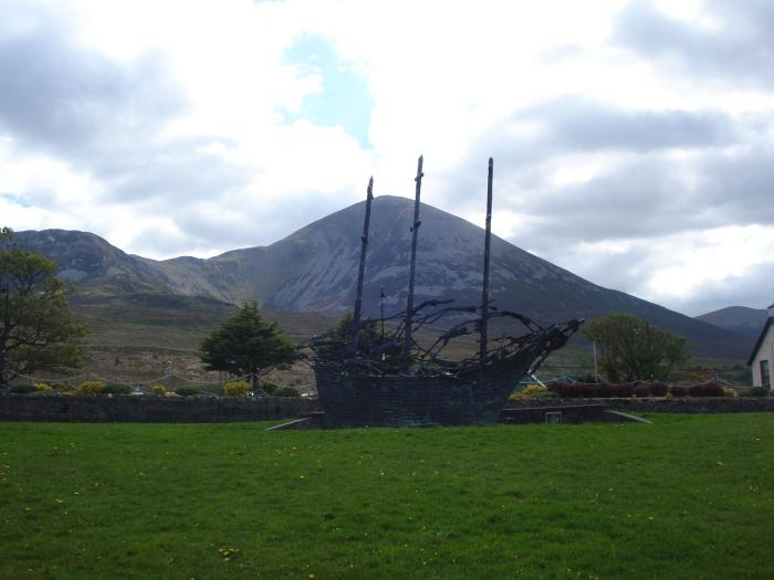 National Famine Monument with Croagh Patrick in the background. Murrish, County Mayo.